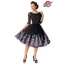 Belsira Premium besticktes Swing-Kleid,schwarz Größe 2XL