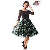 Premium besticktes Vintage-Swingkleid,schwarz/blau Größe 2XL