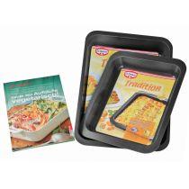 Auflaufform-Set inkl. Kochbuch Auflaufformen Ofenform Backform Bräter Servierform Bratform
