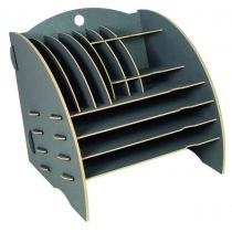 Big Organizer dunkelgrau Ablagekorb Holz Büro Briefablage Ablagefächer Ordnungssystem Bürobedarf
