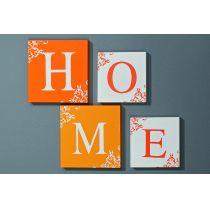 Bildserie HOME 4-teilig Bild Wandobjekt Deko Heim Buchstabe Dekoration