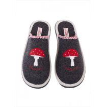 Filzpantoffel Glückpilz schwarz Hausschuhe Damen Pantoffeln Pantoletten Filzhausschuhe Puschen