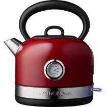Gastronoma Retro Wasserkocher 1,7L rot 2200 Watt Teekocher Teekessel elektrisch
