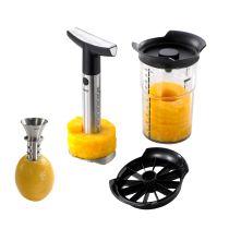 GEFU Ananasschneider + Zitronensaft-Ausgießer CITRONELLO Set Ananas schneiden Zitronenpresse Zitrone pressen E