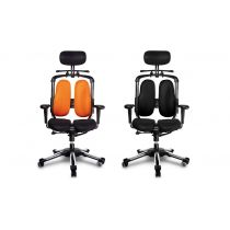 Harastuhl Bürostuhl NIE schwarz o. orange Polyestergewebe geteilte Rückenlehne Chefsessel Schreibtischstuhl