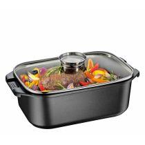Küchenprofi Aromabräter Aromaknopf Glasdeckel 7 Liter Aluguss Dampfgarer schwarz