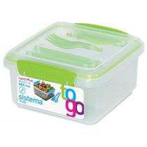 Lunchbox To Go mit Besteck grün Brotzeitbox Brotbox Set BPA-frei