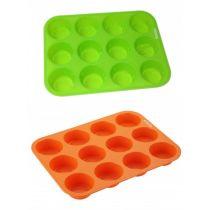 Muffinform 12er orange grün Backform Silikon Muffinförmchen Cupcakes Muffin Silikonbackform