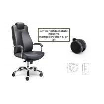 Schwerlastdrehstuhl 150 kg Echtleder schwarz inkl. Hartbodenrollen Bürostuhl Chefsessel