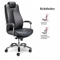 Schwerlastdrehstuhl Bodo Echtleder 150 kg Bürostuhl Chefsessel Schreibtischstuhl