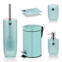TOM TAILOR Badserie Shiny Stripes Aqua Badaccessoires Bad Seifenspender Seifenschale Becher WC-Garnitur Kosmet