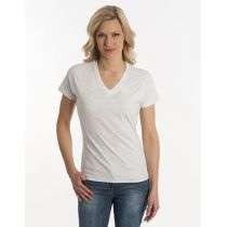 Damen T-Shirt Flash-Line, V-Neck, asche, Grösse 3XL
