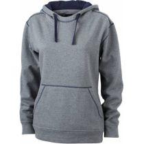 JN Ladie´s Lifestyle Zip-Hoody Grau melange - Navy, Grösse 2XL