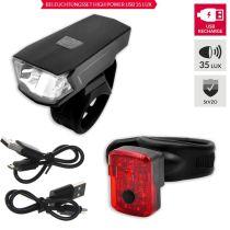 Fahrrad Power USB Beleuchtungsset 35 Lux Vorder- und Rücklicht mit StVZO