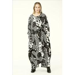 Lagenlook Kleid schwarz weiß - reduziert