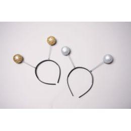 Haarreif - Kopfbügel mit Glitterkugeln gold oder silber - vielseitig im Karneval verwendbar
