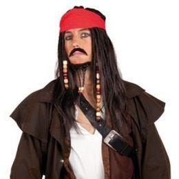 Perücke - Pirat mit Bandana, Schurrbart und Bart