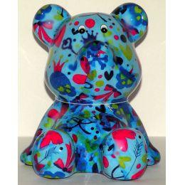 Pomme-Pidou Bär sitzend, blau mit Herzen Spardose