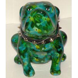 Pomme Pidou Bulldogge grün/blau mit Papageien, Hund Lizzy, Spardose