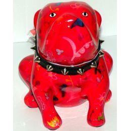 Pomme Pidou Bulldogge rot mit Blumen, Hund Lizzy, Spardose
