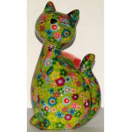 Pomme-Pidou Katze Caramel sitzend, hellgrün mit Blumen, Spardose
