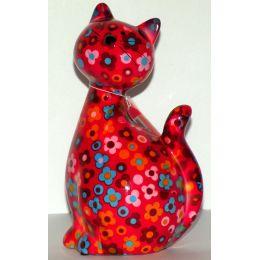 Pomme-Pidou Katze Caramel sitzend, rot mit Blumen, Spardose