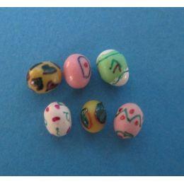 6 Ostereier bunt bemalt Puppenhaus Dekoration Miniaturen 1:12