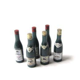 6 Weinflaschen Puppenhaus Dekorationen Miniaturen 1:12