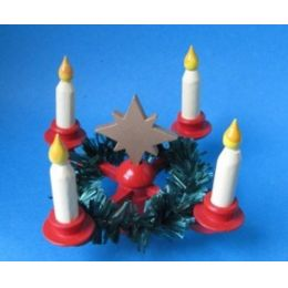 Adventskranz mit Stern Kranz und Kerzen  weihnachtliche Miniaturen für Puppenstuben aus dem Erzgebirge