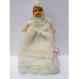 Baby im Taufkleid Puppen für Puppenhaus Miniaturen 1:12