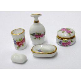 Badezimmer Ausstattung Seifenspender, Puderdose, Seifenschale  Puppenhaus  Miniaturen 1:12