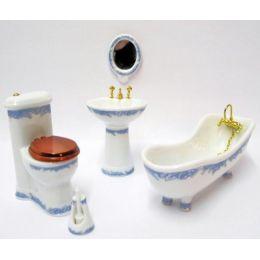 Badezimmer blaues Rankenmotiv Porzellan Ausstattung 5 Teile Puppenhausmöbel 1:12