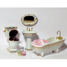 Badezimmer weiss/gold 4 Teile und Zubehör Puppenhaus Möbel Miniaturen 1:12