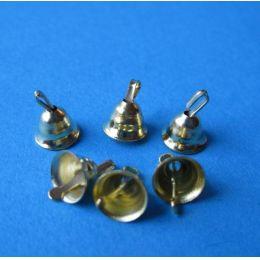 Baumschmuck 6 kleine Glöckchen goldfarben Weihnachten im Puppenhaus Miniatur 1:12