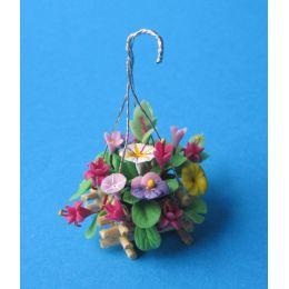Blumenampel Gesteck im Korb Puppenhaus Dekoration Miniatur 1:12