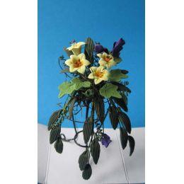 Blumenkorb Gesteck auf einem Ständer gelbe Lilien Puppenhaus Miniatur 1:12