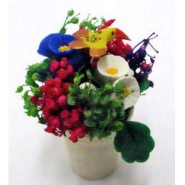 Bunter Sommer Blumentopf Puppenhaus Dekoration Zimmerpflanze Miniaturen 1:12