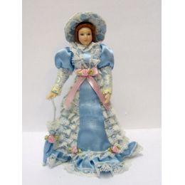 Dame im hellblauen Kleid mit Hut und Schirm Puppe für die Puppenstube Miniatur 1:12