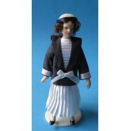 Dame im Plisseekleid Puppe für die Puppenstube Miniatur 1:12