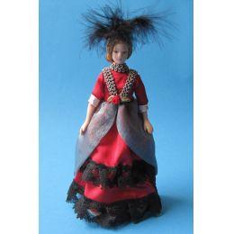 Dame Lady im eleganten roten Kleid Puppe für die Puppenstube Miniatur 1:12