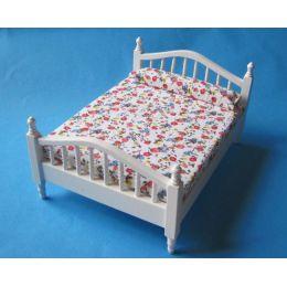 Doppelbett Holz weiss, braun oder naturfarben  Puppenhausmoebel  Miniaturen 1:12