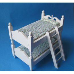 Doppelstockbett weiss oder Natur für Puppenhaus Kinderzimmer Möbel 1:12