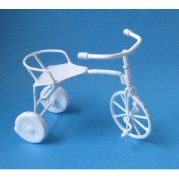 Dreirad Fahrrad Metall weiss Puppenhaus Dekoration Miniaturen 1:12