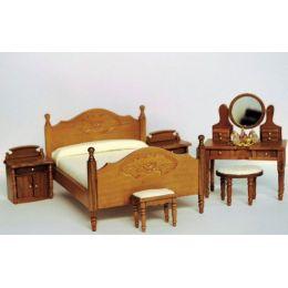 Elegantes Schlafzimmer braun  7 tlg. Puppenhausmöbel MIniaturen 1:12