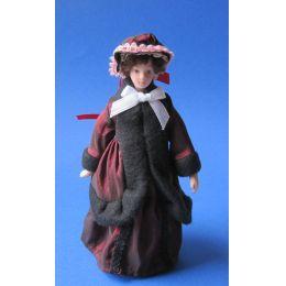 Frau in historischer Winterkleidung Puppe für Puppenhaus Miniaturen 1:12