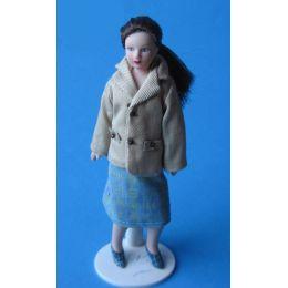Frau Mathilde im modernen Kostüm Puppe für die Puppenstube Miniatur 1: