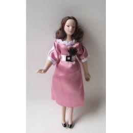 Frau rosa Kleid modern Puppe für Puppenhaus Miniaturen 1:12