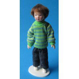 Frecher Junge 11 cm gross  Puppe für Puppenhaus Miniatur 1:12