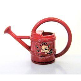 Giesskanne rot Metall Puppenhaus Garten Dekoration Miniatur 1:12