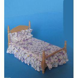 Grosses Puppenbett Schlafzimmer Naturholz lackiert Puppenhausmöbel 1:12